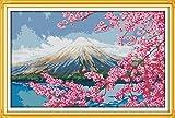 クロスステッチ刺繍キット 花が咲く ふじさん 図柄印刷 初心者 59*40CM ホームの装飾