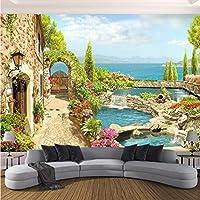 Lcymt 高品質カスタム3D写真の壁紙寝室の壁3Dガーデン風景の背景壁絵画家の装飾リビングルーム-400X280Cm