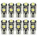 Safego LED T10 5 SMD 白 ウェッジ球 爆光 5W 12V 5連 SMD 5050 明るい3チップ搭載 防水 ナンバー灯 ルームランプ ウィンカー テールランプなど使用 自動車 バイク 汎用10個入り