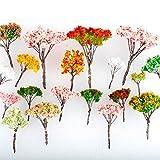 Newone 15本セット 大小混載桜 さくら 樹木 鉢植え用 鉄道模型 風景 鉄線 モデル トレス 情景コレクション ジオラマ 建築模型 電車模型 材料 キット 鉄道 庭 建物 (高さ:4-9cm)
