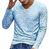 メンズ Tシャツ トップス POTOJP メンズ 服 tシャツ 長袖 おしゃれ 無地 薄手 パーカー 男の子 上着 春秋冬 肌着 Vネック シンプル ロンTシャツ インナー アウター (ブルー, XL)