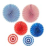 Set of 6 Patriotic Party Decorations - Hanging Paper Tissue Fans - Great for Veterans Day 4th of July Flag Day - Red White Blue [並行輸入品]