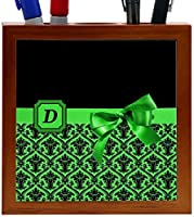 Rikki Knight Letter D Green Monogram Damask Bow Design 5-Inch Tile Wooden Tile Pen Holder (RK-PH41817) [並行輸入品]