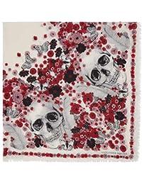 (アレキサンダー マックイーン) Alexander McQueen レディース マフラー?スカーフ?ストール Ivory & Red Muse Skull Scarf [並行輸入品]