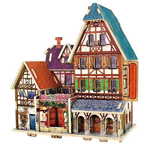 [해외]Robotime 3D 입체 퍼즐 나무 퍼즐 World Style Series- 프랑스 장난감 교육 완구 퍼즐 선물 ??창의력을 키우는 4 종/Robotime 3D solid puzzle wooden puzzle World Style Series - French Toy Intellectual Education Toy Puzzle Present Four kind...