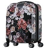 スーツケース 雅 花柄Flower 8輪 拡張機能 TSAロック搭載 格子柄インナー (81001-81002) (S-81001)