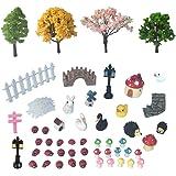 50 PCS Fairy Miniature Ornament DIY Kit and 4 PCS Artificial Succulent Plants for Garden Dollhouse Decoration