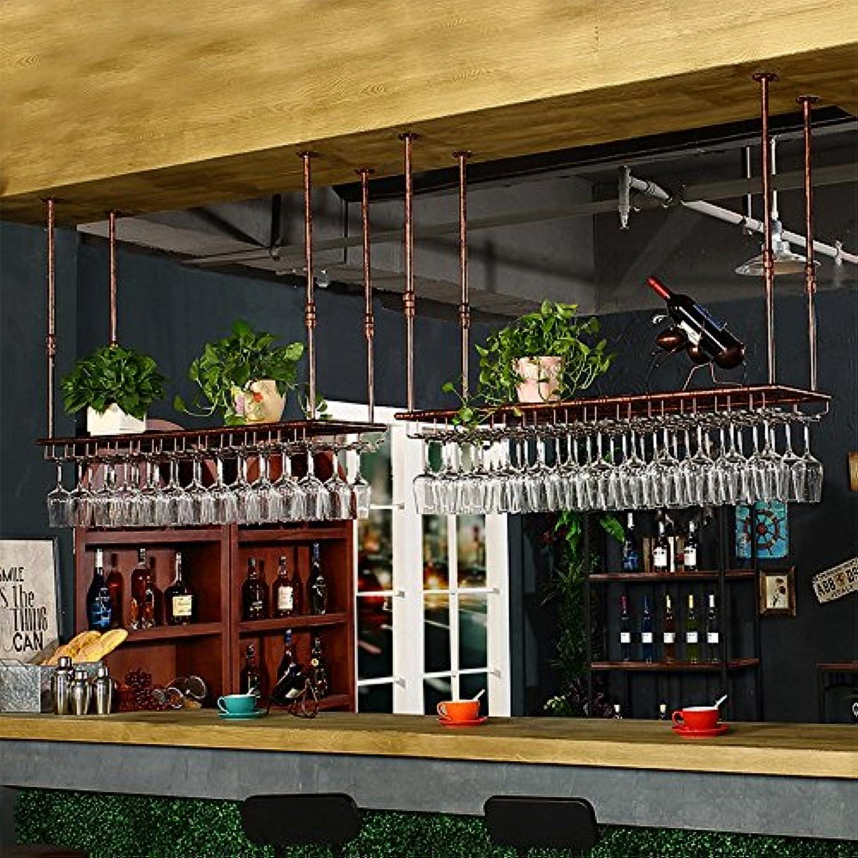 ワインラック 鍛鉄ブラック/ブロンズバー彫刻されたワイングラスラック2色4吊り可能 (色 : ブロンズ, サイズ さいず : 60 * 35 * 7cm)