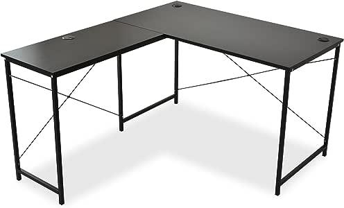 DORIS コーナーデスク ゲーミングデスク 机 パソコンデスク 幅140 L型 ホールカバー付 足元フリー設計 ブラック プライム