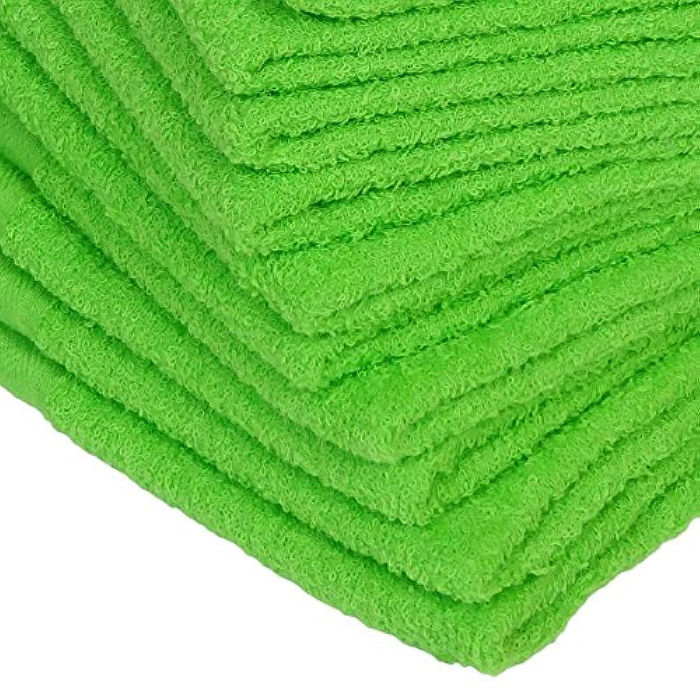 WKG 泉州製 フェイスタオル 10枚セット 日本製 綿100% ソフトタオル 無地 (黄緑色)
