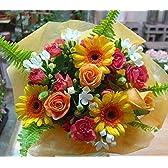 【 花想久里 はなおくり ビタミンカラ- の オレンジブーケ 生花 】 成人の日 恋人の日 フラワーギフト に オレンジ 薔薇 ガーベラ など 元気の出る 明るい色 が 魅力 人気 の 花束 5