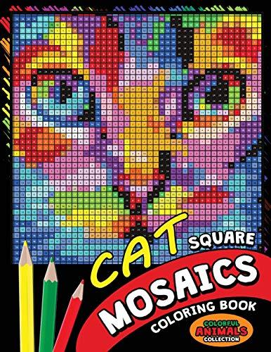 Cat Square Mosaics Coloring Book: Colorful Animals...