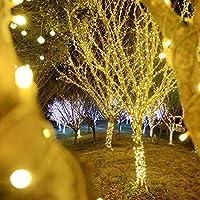 ソーラーライトLEDストリングつららライト、屋外の大気ランプ8が点灯モデル、お祝いの装飾光水ランプが点灯7m50を滝 warm white