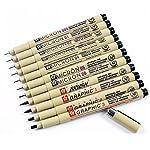 Sakura 11 Pcs Pigment Liner Pigma Micron Ink Fine Line Pen Set 005 01 02 03 04 05 08 1 2 3 Brush with Pen Case, Black...