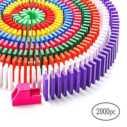 SITAKE 2000 Pcs 12 Colors Wooden Dominoes Set with 32 Add-on Blocks and 2 Storage Bags for Blocks Racing Tile Games Building and Stacking Toy for Kids (Random Colors)