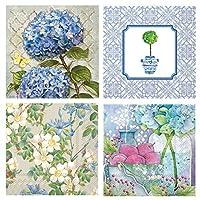 ボストン国際20カウント3本用紙花柄カクテルナプキン、4のセット、アジサイ、トピアリー、アイリス、Apple Blossoms