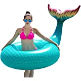 Jasonwell Giant Inflatable Mermaid Tail Pool Float with Fast Valves Summer Beach Swimming Pool Party Lounge Raft Decorations