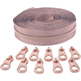Zipper by The Yard 5# -Nylon Metallic Coil Zippers for Sewing, Long Zippers 5 Yard Upholstery with 10 Rose Gold Slider Pull-V