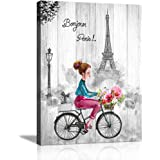 Paris Canvas Wall Art Black and White Wall Art for Bedroom Bathroom Pink and Gray Paris Theme for Teen Girl Room Decor Eiffel