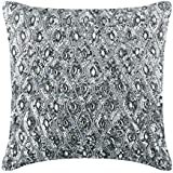 Decorative Silver Designer Cushion Covers for Couch 40x40 cm, Silk Cushion Cover, Geometric, Lattice, Trellis, Beaded, Rhines