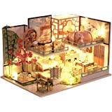 CUTEBEE Dollhouse Miniature with Furniture, DIY Wooden Dollhouse Kit Plus Dust Proof , 1:32 Scale Creative Room Idea (Guqin P