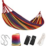 Extra Long 2 Person Brazilian Double Hammock Bed for Indoor Outdoor Backyard Porch Travel Camping with Sturdy Rope Tree Strap