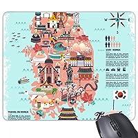 韓国の目印を示している地図 長方形のノンスリップゴムパッドのゲームマウスパッドプレゼント