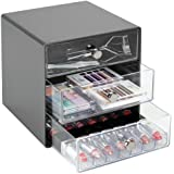 mDesign Plastic Makeup Organizer Storage Station Cube, 3 Drawers for Bathroom Vanity, Cabinet, Countertops - Holds Lip Gloss,