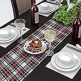 AAYU テーブルランナー 36x274cm 英国 タータンチェック 赤 白 おしゃれ