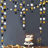 Gold Back Circle Dots Garland Streamers for Party Decorations Glitter Black Hanging Bunting Banner Backdrop Decoration for Bi