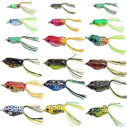 フロッグルアーカエル18個入りトップウォーターバス釣り雷魚蛙釣り餌フック餌ソフトルアー