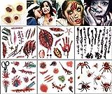 [XPデザイン] 切り傷 縫い キズ タトゥー 特殊 メイク ボディ シール ステッカー 引っ掻き 噛み跡 傷口 (ラージサイズ6枚+3D)