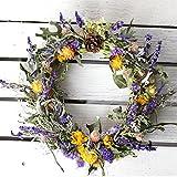 春色リース ミディアム(ドライフラワー)/お花の壁飾り フラワーギフト パープル系(紫)
