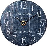 ケーアイ エポカ デスククロック 置き時計 直径14cm ブルー ナンバー