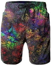 メンズ ビーチショーツ ショートパンツ カラフルプリント 水着 スイムショーツ サーフトランクス インナーメッシュ付き 通気 速乾