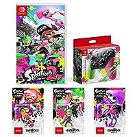 【Amazon.co.jp限定】Splatoon 2 (スプラトゥーン2)+Nintendo Switch Proコントローラー スプラトゥーン2エディション+amiibo3種(ガール【ネオンピンク】、ボーイ【ネオングリーン】、イカ【ネオンパープル】)+オリジナルメタルチャーム3種(ガール・ボーイ・イカ(連結可能))
