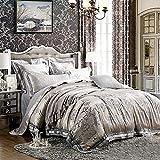 高級ジャガードのサテンの綿/シルク王/キングサイズの寝具セット/シートと枕カバー掛け布団カバー 2色