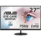ASUS VL278H 27-inch Eye Care Monitor, 1ms, 75Hz, Adaptive-Sync/FreeSync, Frameless, Slim, Wall Mountable, Flicker Free, Blue