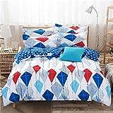 Swansan 布団カイトシートは赤と白、青の枕寝具の組み合わせは、年間を通じて適用します (セミダブル)