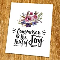 Comparison is the thief of joy Print (Unframed) Watercolor Floral Motivational Quote Inspirational Poster Living Room Art Guest Room Decor 8x10 TA-087 [並行輸入品]