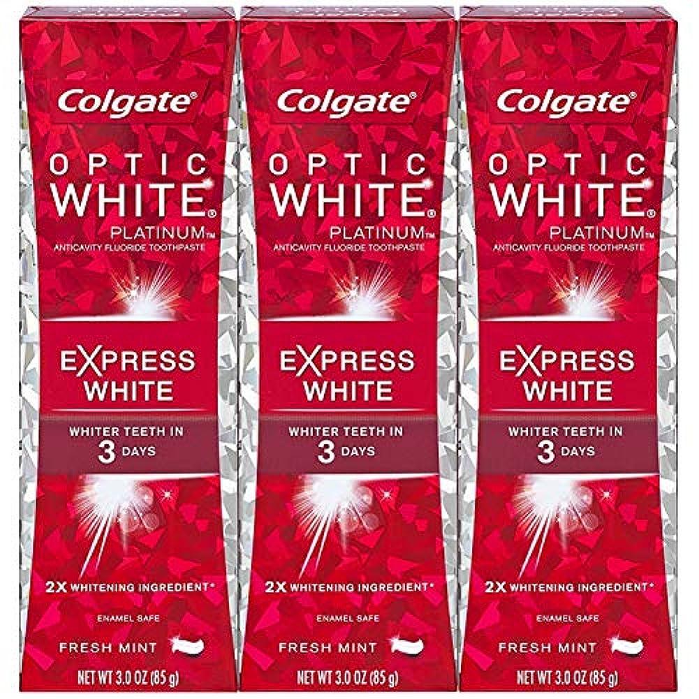 処理ミネラル全員Colgate オプティックホワイトプラチナエクスプレス白の歯磨き粉、フレッシュミント3オズ(3パック)