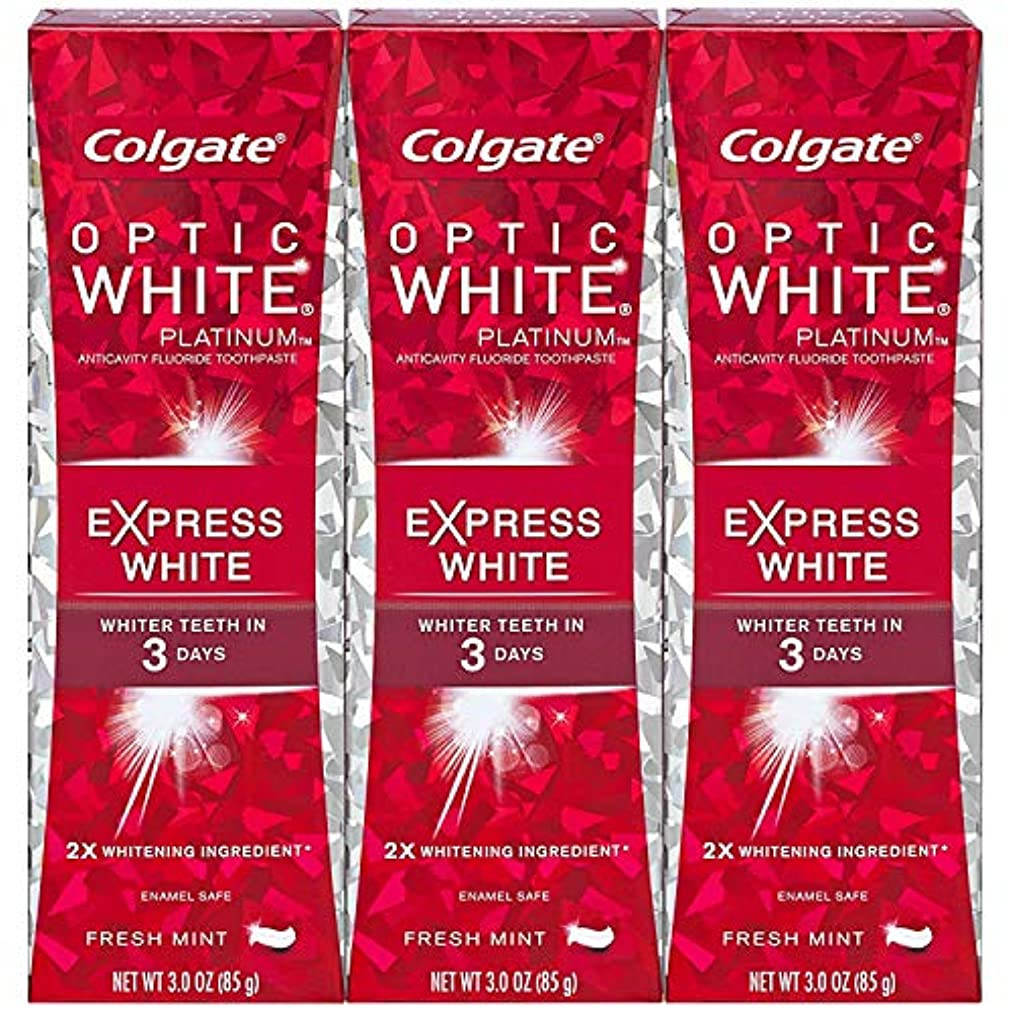 証書分数伝統的Colgate オプティックホワイトプラチナエクスプレス白の歯磨き粉、フレッシュミント3オズ(3パック)