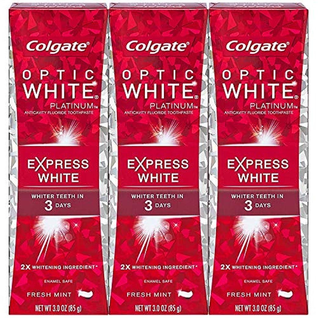 保育園聖域診療所Colgate オプティックホワイトプラチナエクスプレス白の歯磨き粉、フレッシュミント3オズ(3パック)