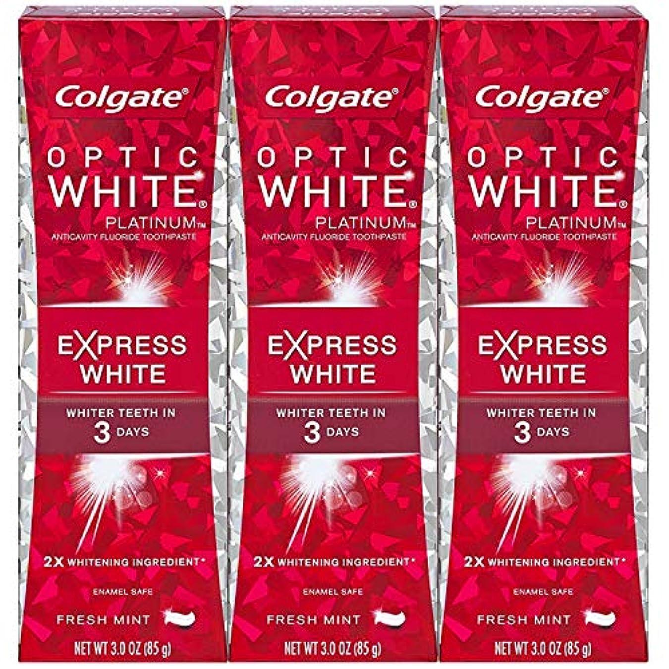組立行くフリルColgate オプティックホワイトプラチナエクスプレス白の歯磨き粉、フレッシュミント3オズ(3パック)