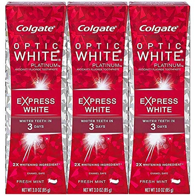 すずめ寛大な膿瘍Colgate オプティックホワイトプラチナエクスプレス白の歯磨き粉、フレッシュミント3オズ(3パック)