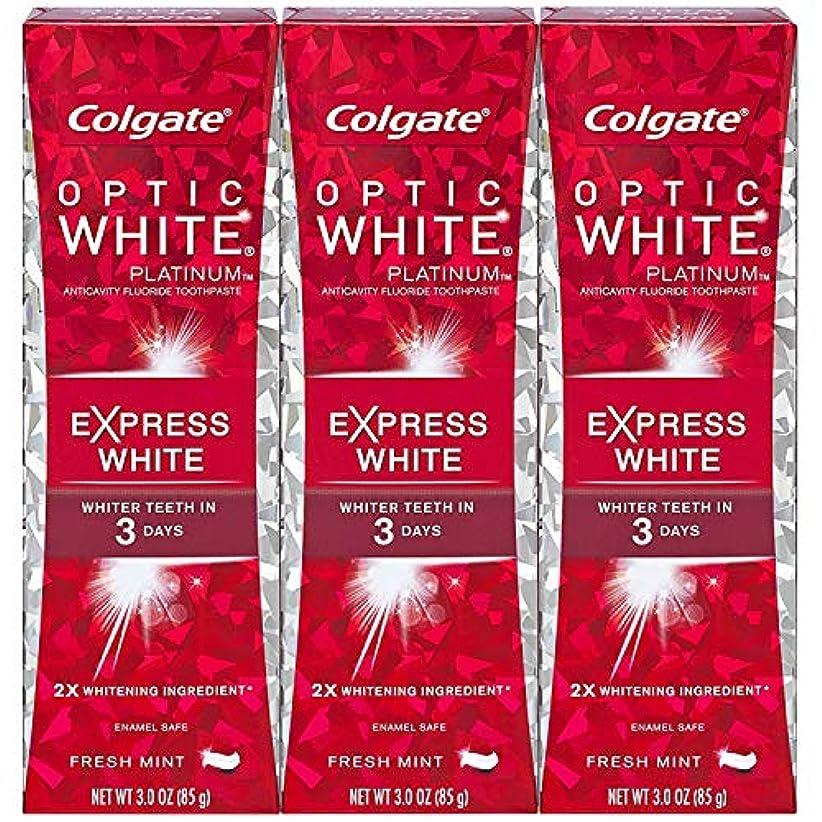 噴火便利さ槍Colgate オプティックホワイトプラチナエクスプレス白の歯磨き粉、フレッシュミント3オズ(3パック)