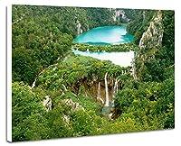 美しい緑の森、滝、川、山 - (040) - 自然 風景 壁掛け式の装飾画 印刷の絵 ポスター(35cmx50cmx2.5cm)
