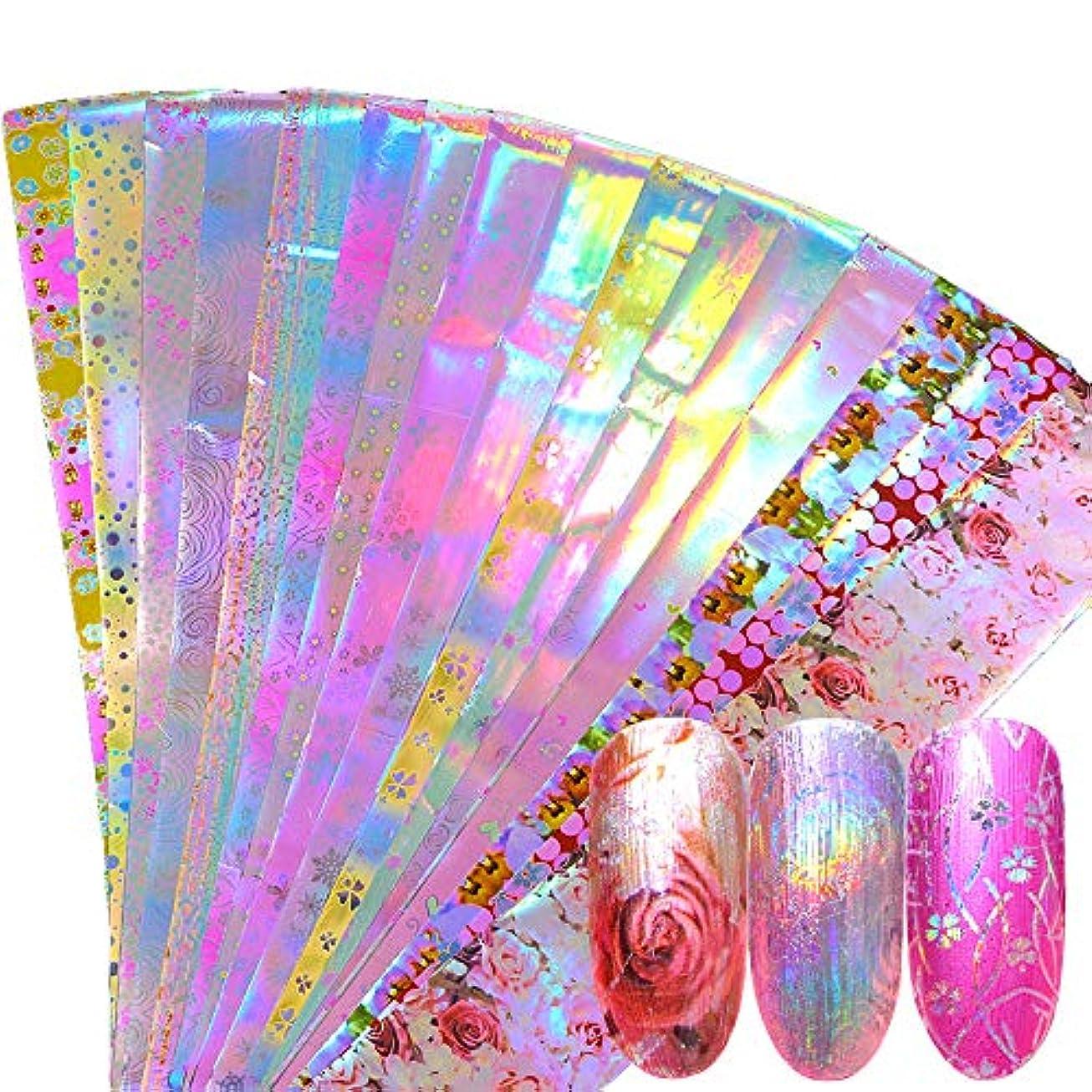 震える成り立つ決してSUKTI&XIAO ネイルステッカー 16ピースホログラフィックネイル箔セットミックスフラワーデザイン転写箔ネイルポリッシュステッカーネイルアート装飾スライダーデカール