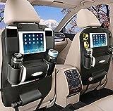 YOOSUN 車用収納 シートバックポケット 後部座席 収納 ホルダー レザー製 水筒、Ipad Mini 収納ポケット (黒, 1個)