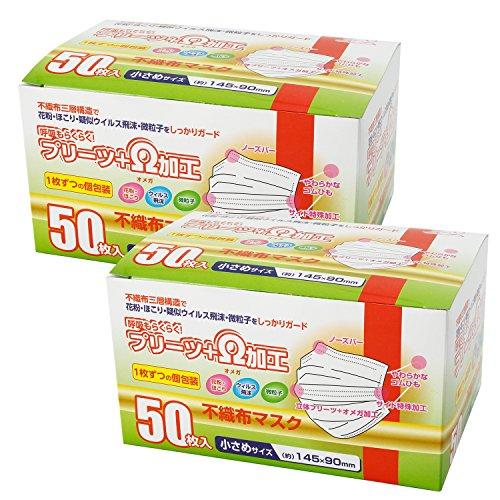 マスク 小さめサイズ 個包装 不織布 50枚入 2個パック ...